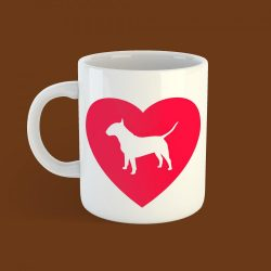 Bullterrier szív bögre