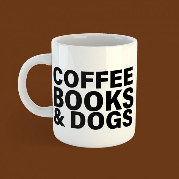 Coffee Books & Dogs Női Bögre