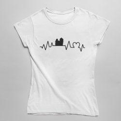 Máltai selyemkutya heartbeat női póló