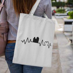 Máltai selyemkutya heartbeat vászontáska