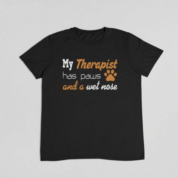 My therapist has paws and wet nose férfi póló