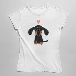 Tacskó szívecskével női póló