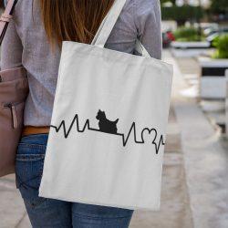 Westie heartbeat vászontáska